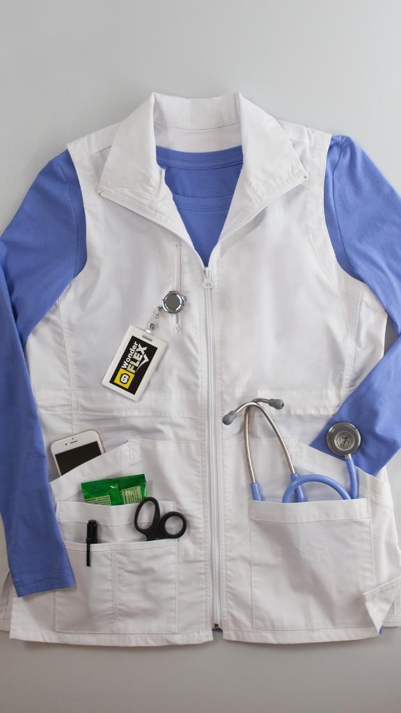 WonderWink Scrubs WonderFLEX Essential Utility Zip Front Vest