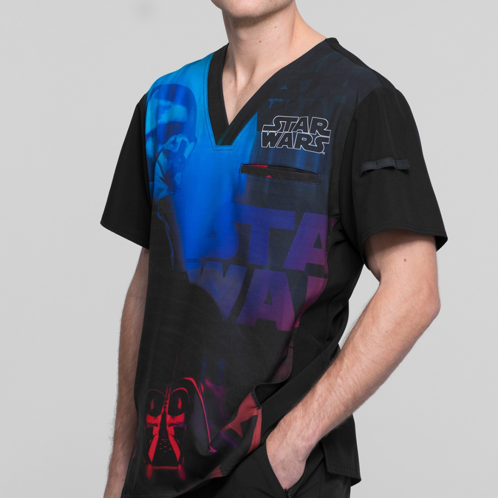 Cherokee Tooniforms Star Wars Infrared Men's Print Scrub Top