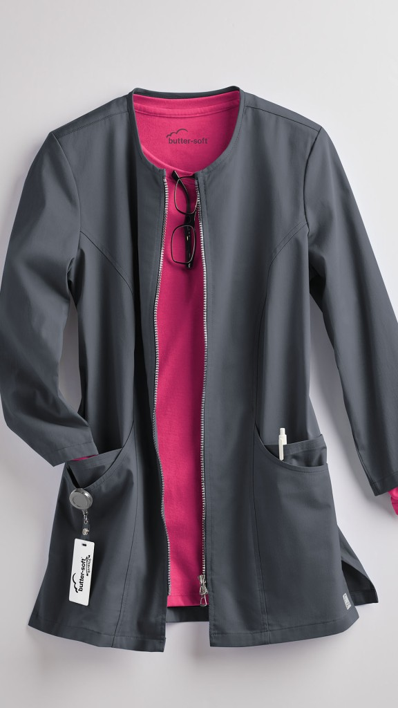 Butter-Soft Stretch Jewel Neck Consultation Lab Coat