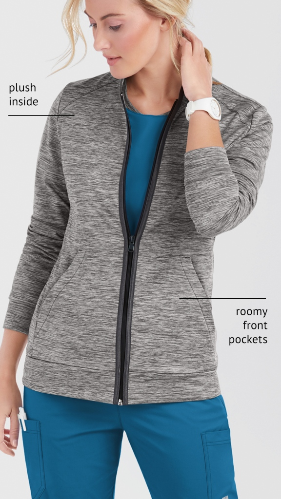 Butter-Soft Stretch Technical Knit Zip Front Scrub Jacket