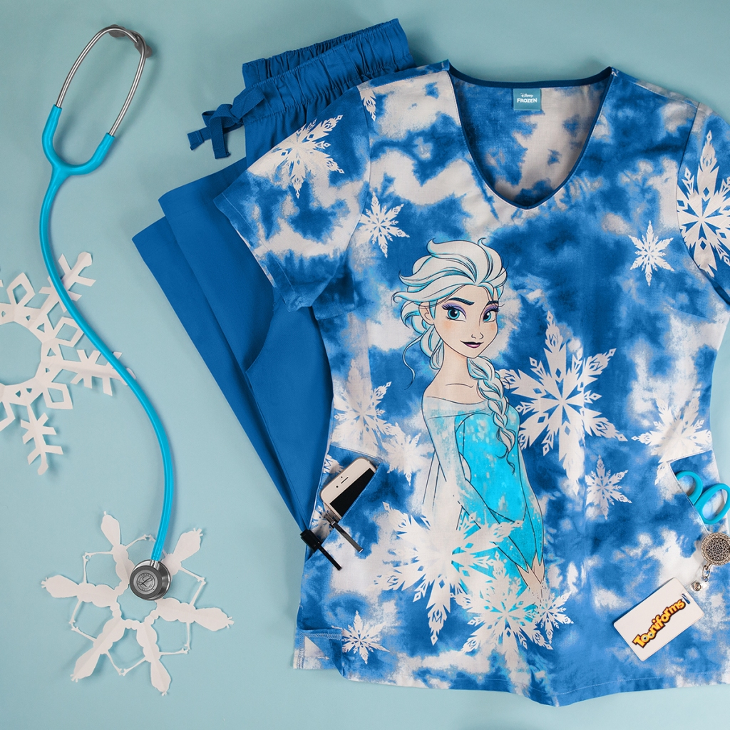 Cherokee Tooniforms Disney Princess Elsa Print Scrub Top