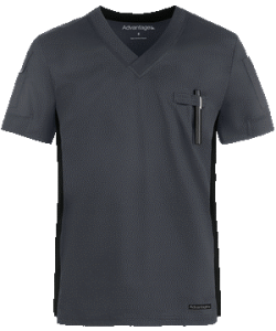 Rib Trim V-Neck Scrub Top by Advantage STRETCH for Men