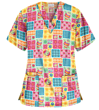 UA Bright and Happy Easter White V-Neck Print Scrub Top