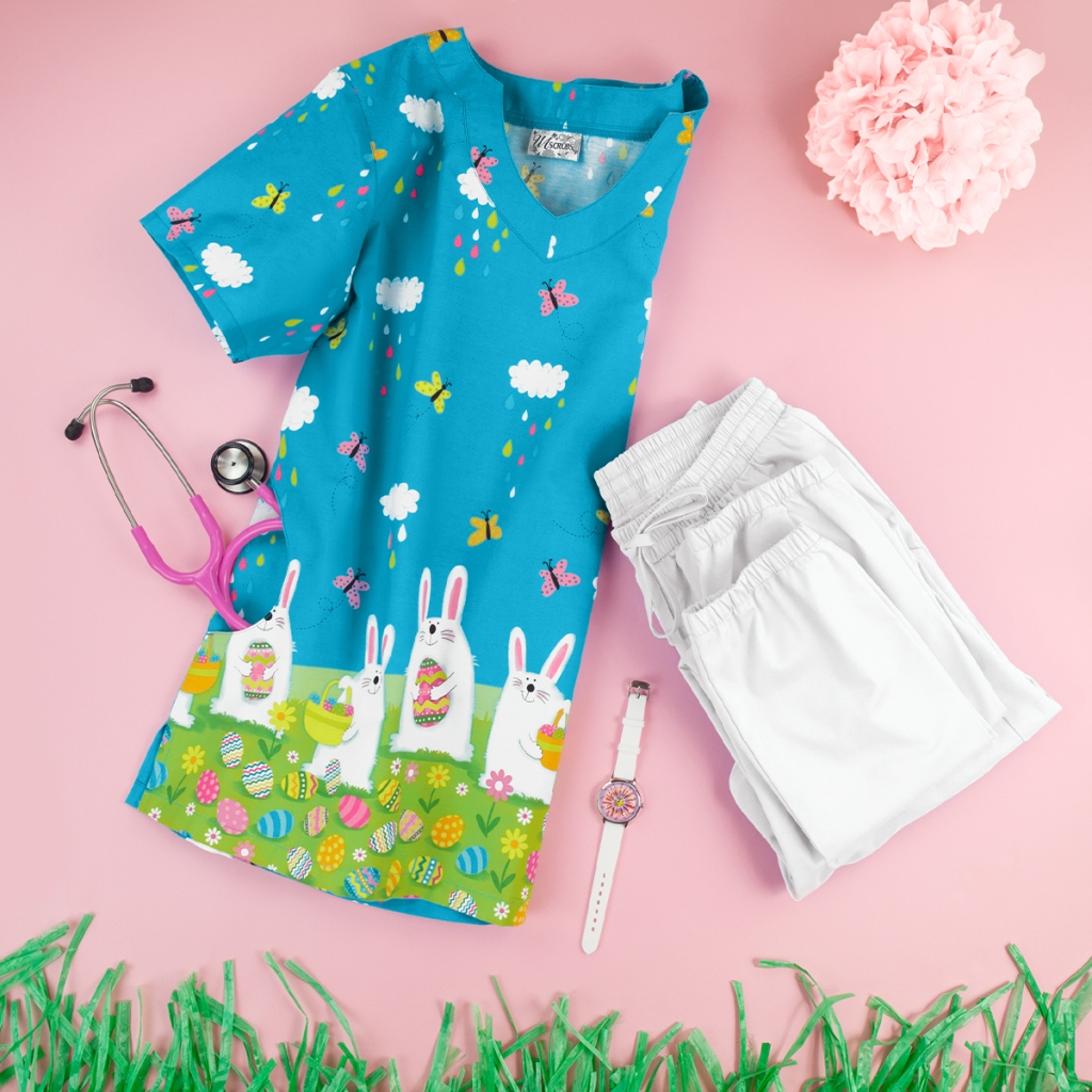 UA Morning Bunnies Turquoise Scallop Neck Print Scrub Top