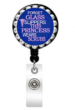 Medical Princess Jewel ID Badge Holder is perfect for a long shift. It features rhinestone jewels and a retractable holder.
