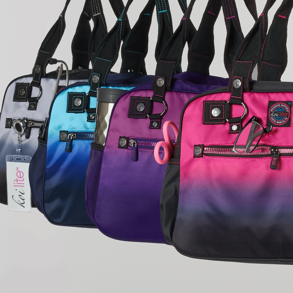 "The koi A155 FL02 Flamingo/Black Ombre Utility Bag features a detachable shoulder strap that adjusts to 45"" and a 5 1/2"" handle strap. For storage, there are 2 front pockets and a back zipper pocket"