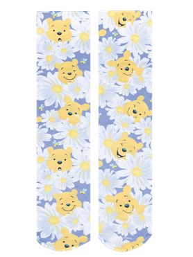 "Look for some ""Hunny"", or visit Hundred Acre Wood in Cherokee Tooniforms Disney Oops-A-Daisy Fashion Support Socks. They're made out of 90/10 nylon/spandex and feature 8-15mmHg compression and gradient support."