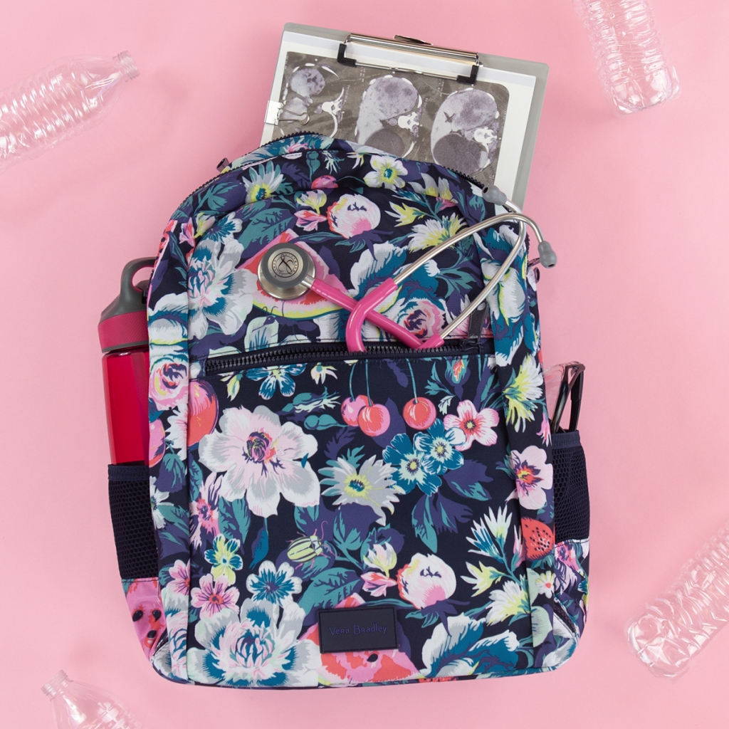 "Meet Vera Bradley's New ReActive collection - featuring items made from recycled PET (Polyethylene Terephthalate ) water bottles! Check out the Vera Bradley ReActive Garden Picnic Grand Backpack. It has a quilted exterior, two zip pockets, two side mesh slip pockets, and a zippered wet pocket on the bottom. The dimensions are 14.50"" w x 17.00"" h x 6.00"" d with 2.75"", 32.00"" adjustable straps."