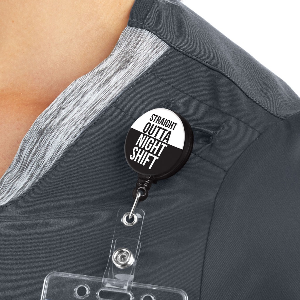 The badge has a retractable cord, a convenient 360 degree swivel back alligator clip, and Mylar covering for easy cleaning.