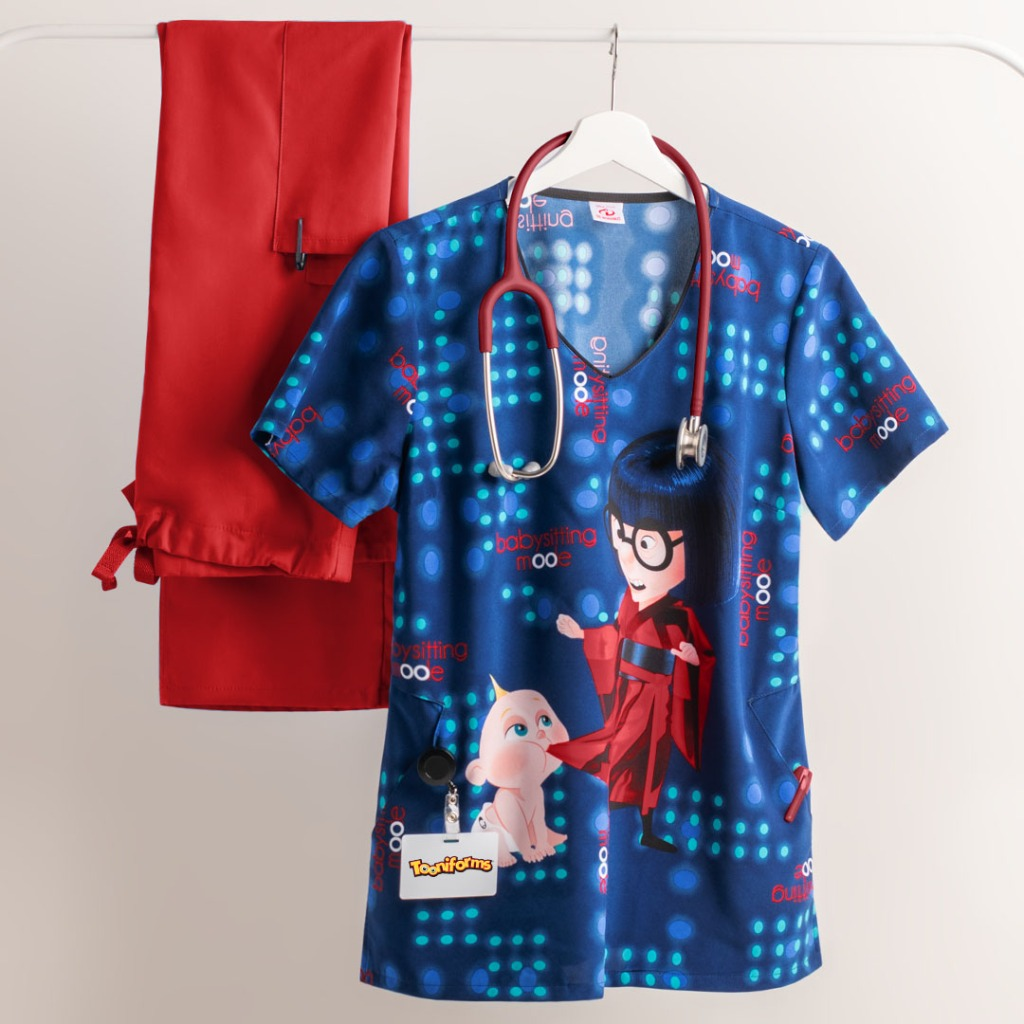 Cherokee Tooniforms Disney Pixar Babysitting Mode V-neck Print Scrub Top