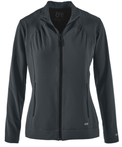 Barco One 2 Pocket Warm Up Scrub Jacket in Steel Gray