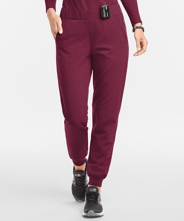 medical jogger scrub pants in wine