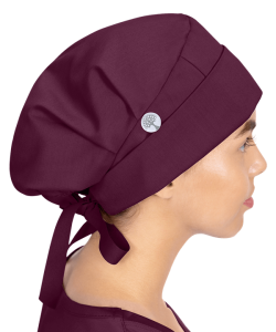 Sage Bouffant Scrub Hat with Button