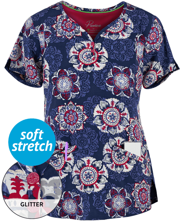 Isabel Vintage Medallion Print V-Neck Scrub Top
