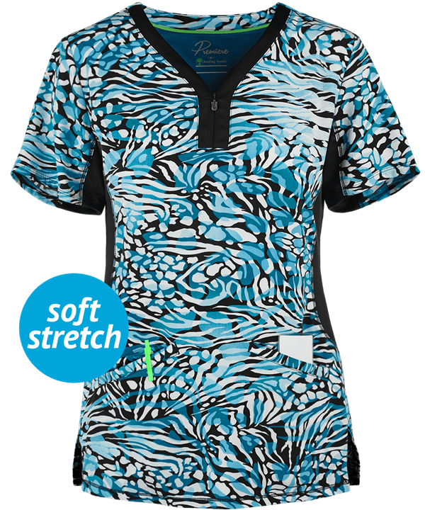 Jessi Wild Safari Y-Neck Print Scrub Top