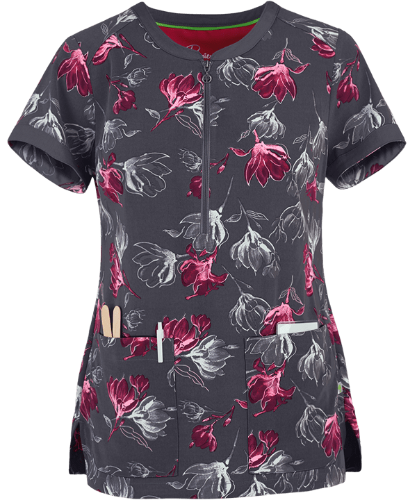 Soft Vision Prints Jean Scrub Top