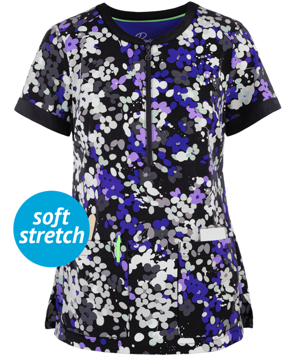 Splash of Color Prints Jean Scrub Top