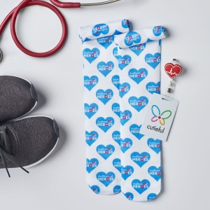 These compression socks features 10-18 mmHG gradient compression. The fabric content is 95/5 nylon/spandex with a knit style and knee length.