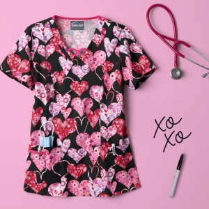 Exclusive to Uniform Advantage, this print scrub top features criss cross spaghetti inserts at the front of the neckline to give the top an unique style. For storage, the fashionable top has 3 patch pockets and is made out of a comfortable 55/45 cotton/poly blend. Complete your look in matching Fuchsia, Red or Black pants!