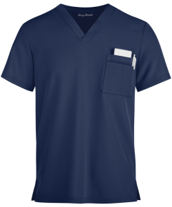 Unisex V-Neck Scrub Top shown in Navy.