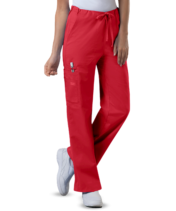 unisex scrub pants on female shown in red