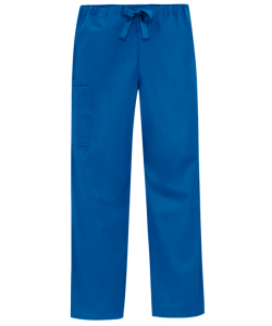 unisex scrub pants shown in royal
