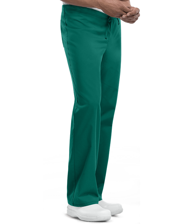 unisex scrub pants shown in hunter on male