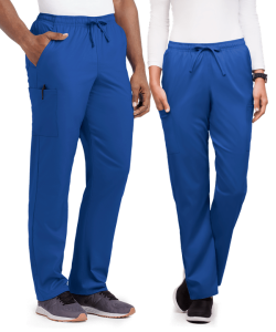 male and female wearing royal scrub pants