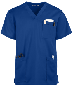 unisex scrub top shown in royal
