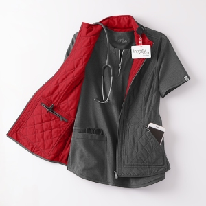 Cherokee Infinity Reversible Quilted Scrub Vest featured in Heather Charcoal and Red
