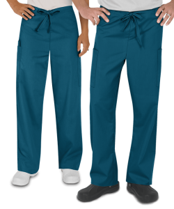 male and female wearing Caribbean Blue scrub pants