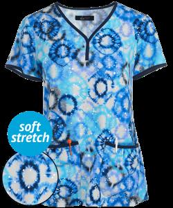 Koi Lite Firework Tie Dye Eve Y-Neck Print Scrub Top