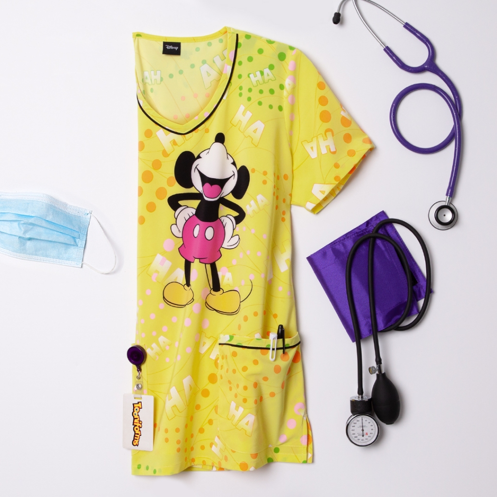Cherokee Tooniforms Disney Ha Ha V-Neck Print Scrub Top