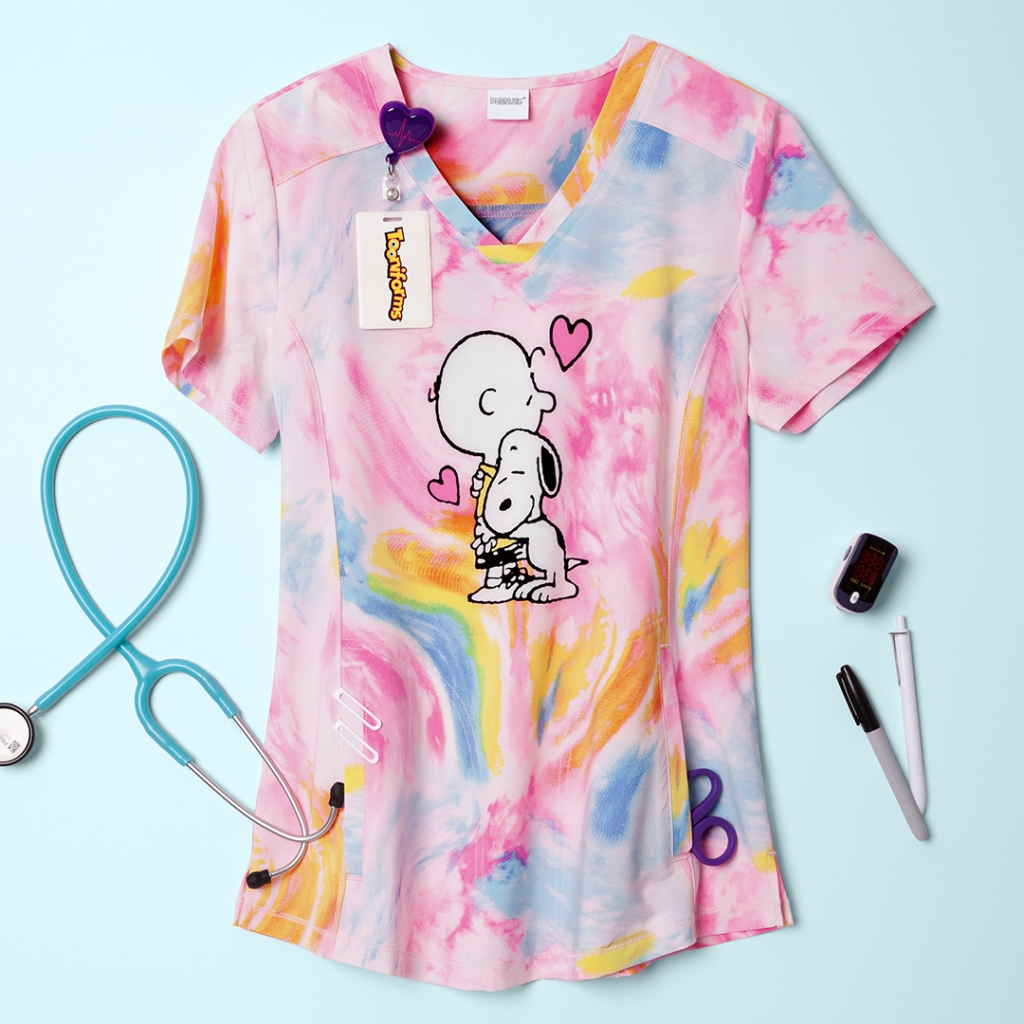 Cherokee Tooniforms Peanuts Dog's Best Friend V-Neck Print Scrub Top