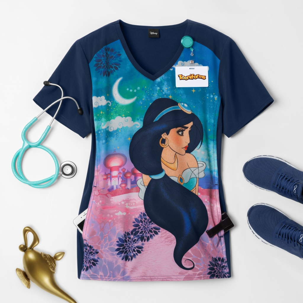 Cherokee Tooniforms Disney Jasmine Nights V-Neck Print Scrub Top