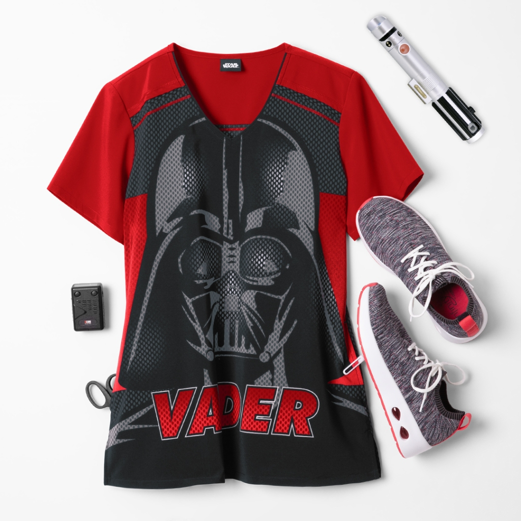 Cherokee Tooniforms Star Wars Vader 77 V-Neck Print Scrub Top