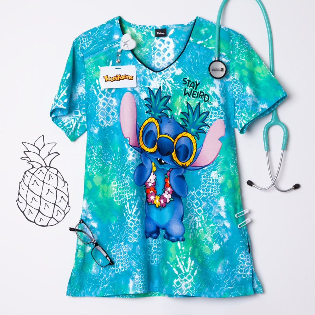 Cherokee Tooniforms Disney Stay Weird V-Neck Print Scrub Top